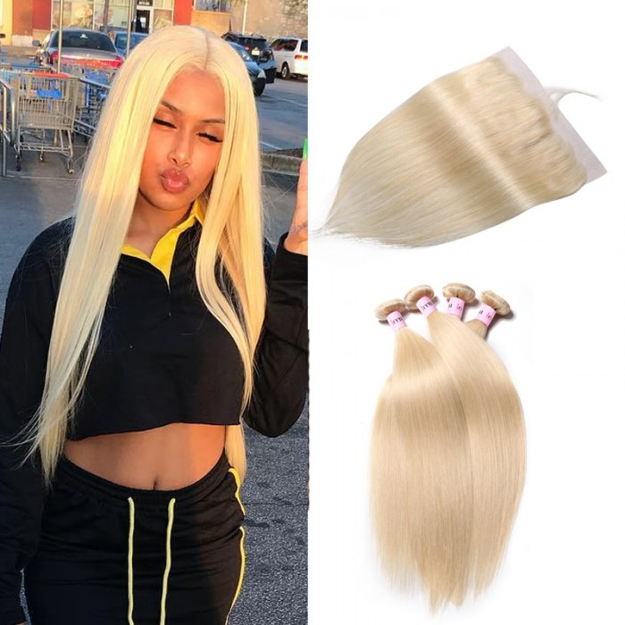 UNice Hair 613 Blonde 4PCS Straight Hair Bundles With 13x4 Inches Lace Frontal