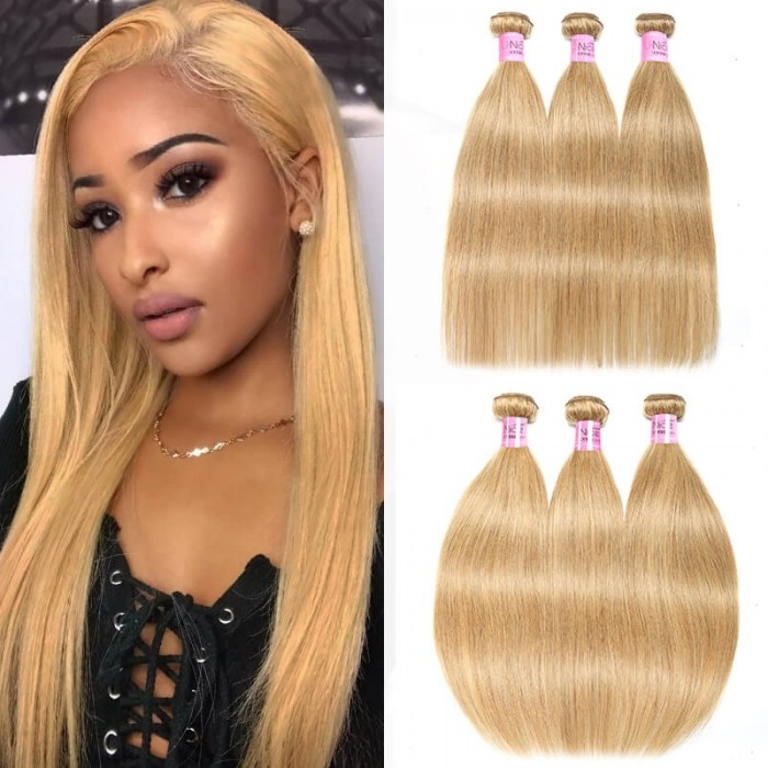 UNice Hair Honey Blonde Hair Bundles 3 Pcs Straight Hair Weave Bleached Blonde Straight Human Hair Bundles Deals Icenu Series