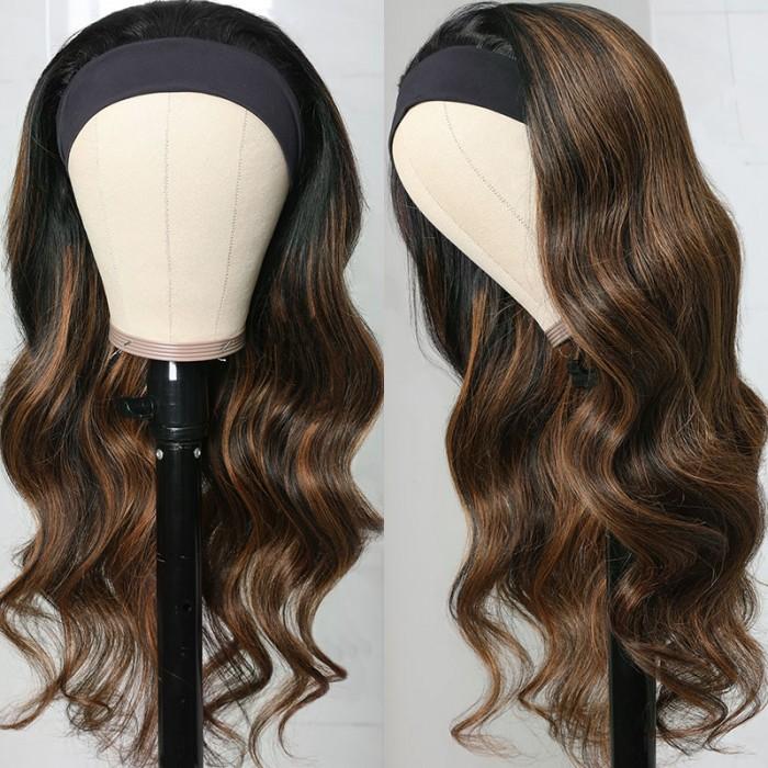Flash Sale Balayage Blonde Highlight Ombre Body Wave 20 Inch Headband Wig 150% Density