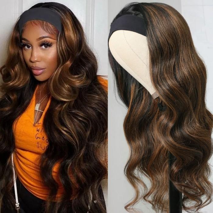 Unice Brand Day Sale Balayage Blonde Highlight Ombre Body Wave 16 Inch Headband Wig 150% Density
