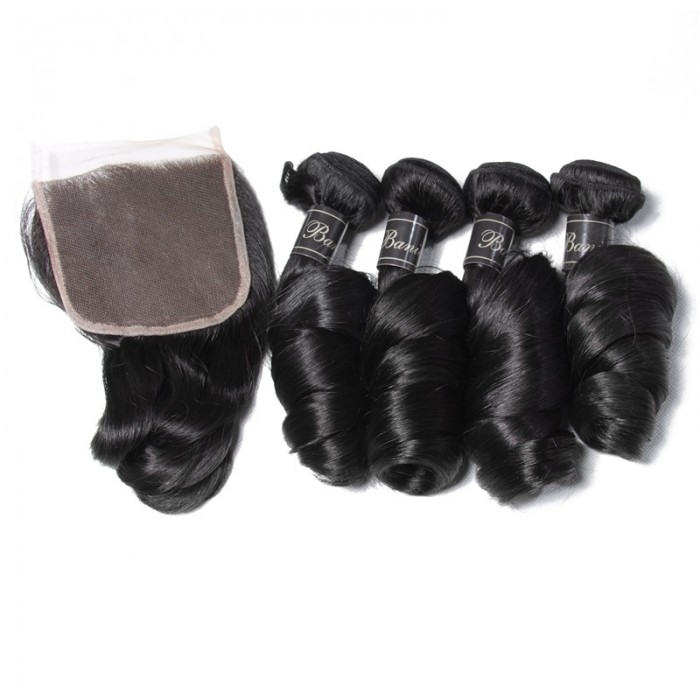 UNice Hair Banicoo Series 4 Bundles Premium Loose Wave Hair With Lace Closures
