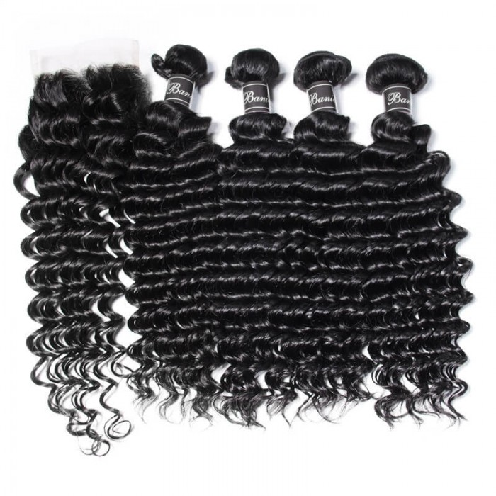 UNice Hair Banicoo Series 4 Bundles Deep Wave Hair Extension With 4x4 Lace Closure
