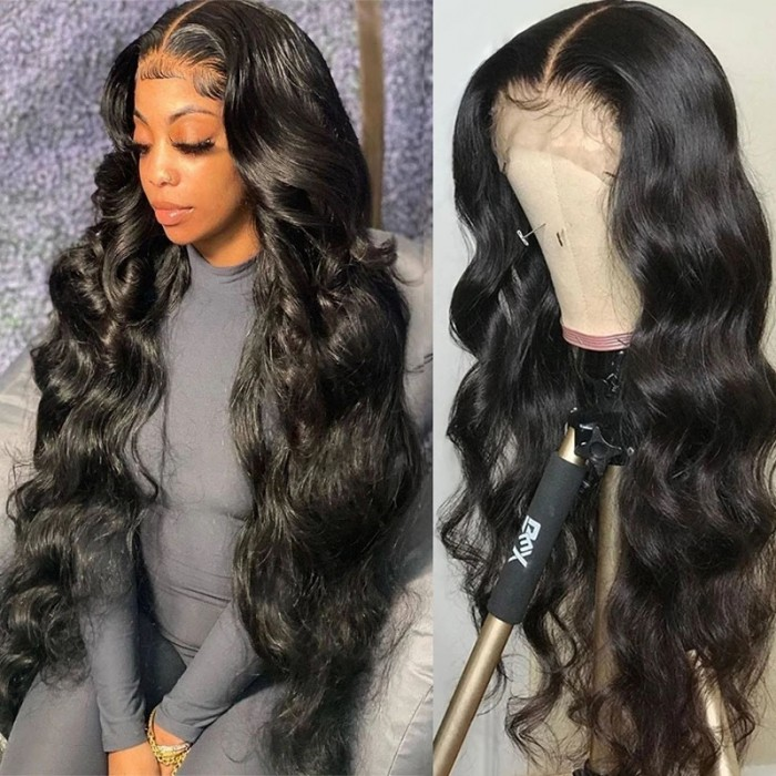 UNice Affordable Lace Front Wigs Body Wave Real Black Hair Wigs 13x4 Lace Front Wig 180% Density Pre-plucked Human Hair Wigs with Baby Hair Natural Color Bettyou Series