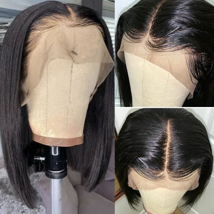 France Uniquement UNice Hair Short Straight Lace Frontal Bob Wig With Baby Hairs Along The Hairline 100% Human Hair Without Bangs Bettyou Series