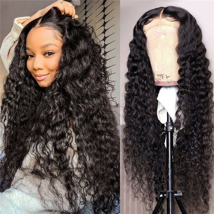 Unice 13x4 Lace Front 150% Density Deep Wave Wig Pre Plucked Natural Hair Wigs