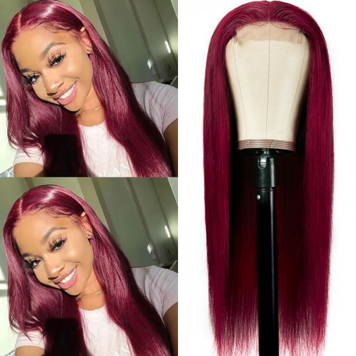 Cut to Free Unice Straight Lace Part Wig Burgundy Color 16inch 150% Density