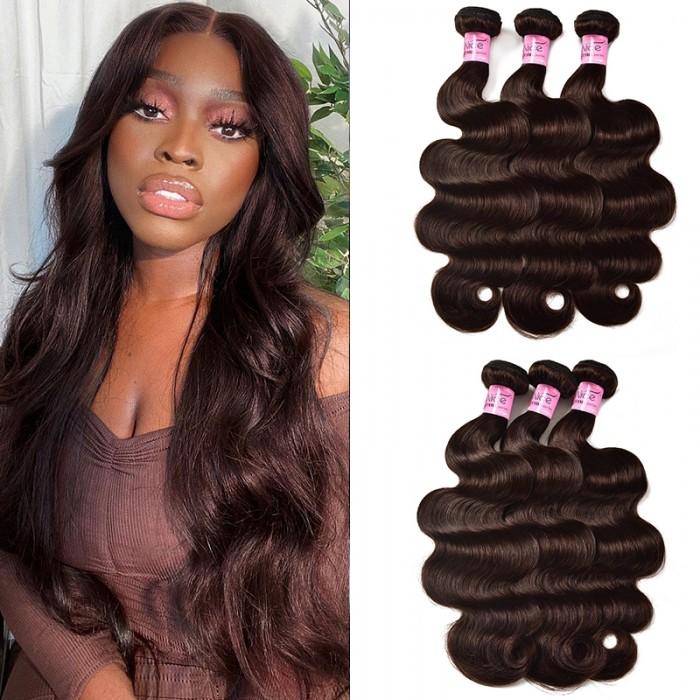 UNice Hair Color #2 Dark Brown Body Wave Human Hair Weave 3 Bundles Virgin Remy Hair Wefts Bundles Icenu Series