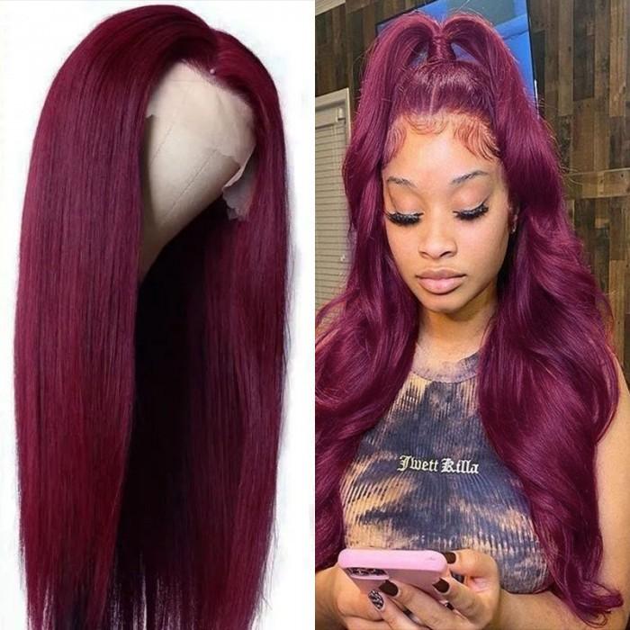 Flash Sale UNice Hair Dark 99J Burgundy Straight HD Transparent Lace Front Wigs