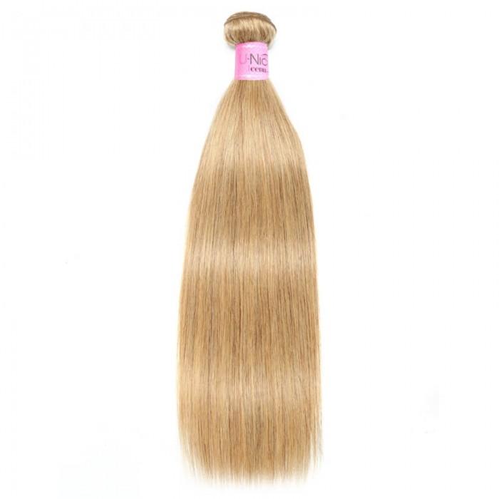 UNice Hair Honey Blonde Straight Hair Bundles Color #27 Unprocessed Virgin Hair Weave 100% Silky Straight 1 Bundle Icenu Series