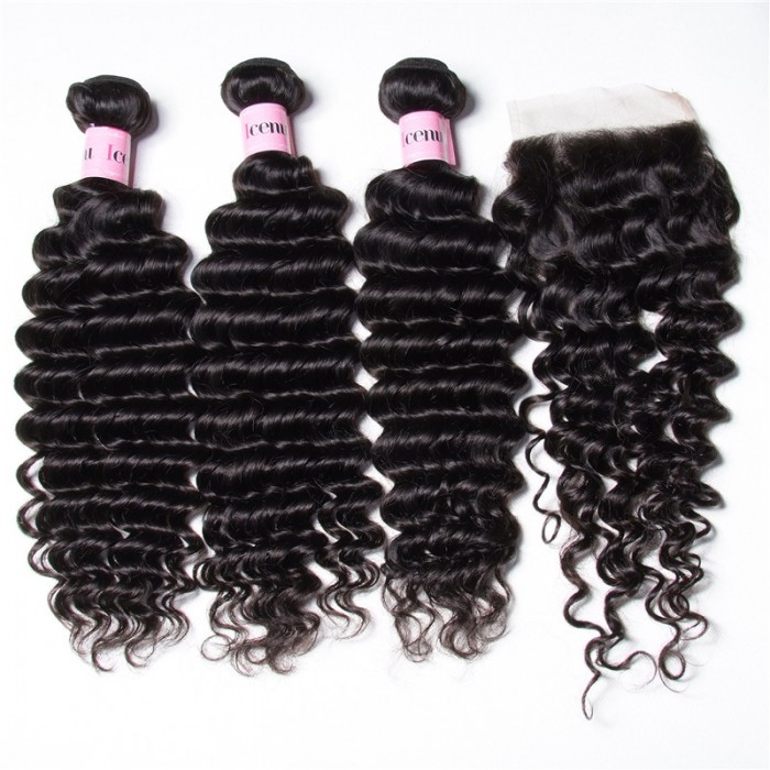 UNice Hair Icenu Series 3PCS Deep Wave Bundles Virgin Human Hair With 1PC 4*4 inch Lace Closure