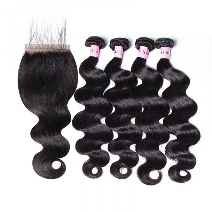 UNice Hair Icenu Series 5x5 Body Wave Lace Closure With 4pcs Body Wave Virgin Hair Bundles