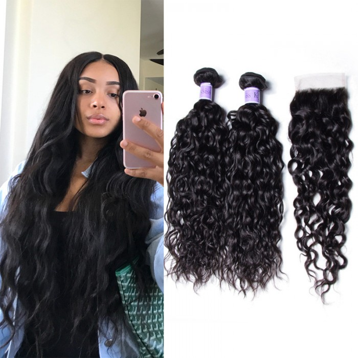 UNice Hair Kysiss Series 3 Bundles Peruvian Water Wave Hair Weaving With Lace Closure