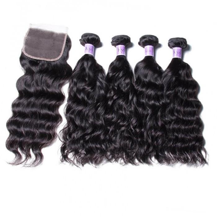 UNice Hair Kysiss Serie Brazilian 4pcs Natural Wave Virgin Hair With Closure