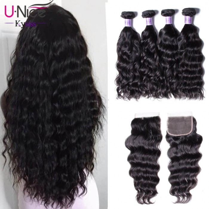 UNice Hair Kysiss Series Good Natural weave 4 Bundles Virgin Hair With Closure