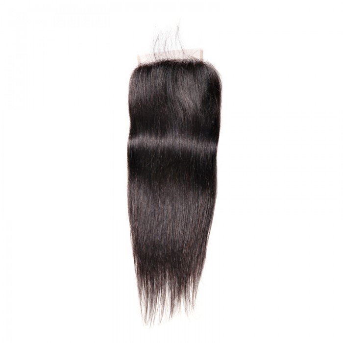 UNice Hair Natural Color Straight Virgin Hair 5x5 Free Part Lace Closure Pre-Plucked With Baby Hair