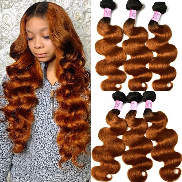 UNice Hair Ombre Body Wave Hair 3 Bundles Colored Hair Weaves T1B/30 Black to Black to Dark Brown Icenu Series