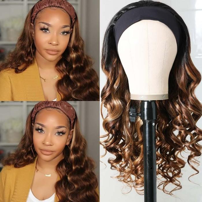 UNice Hair Ombre Highlight Headband Human Hair Wig 1B/412 Body Wave Wig 150% Density Bettytou Series