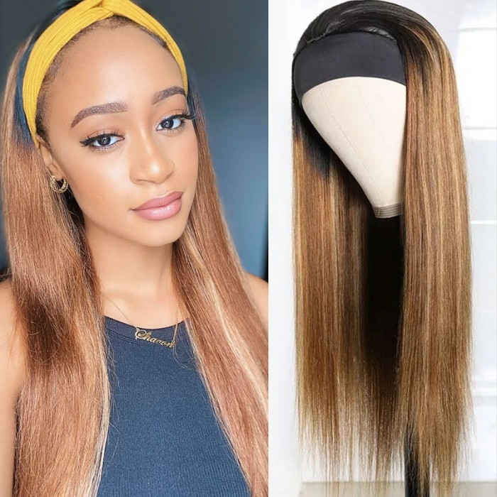 UNice Hair Ombre Dark Roots Honey Blonde Human Hair Wig 150% Density Headband Straight Glueless Wigs for Women Bettyou Series