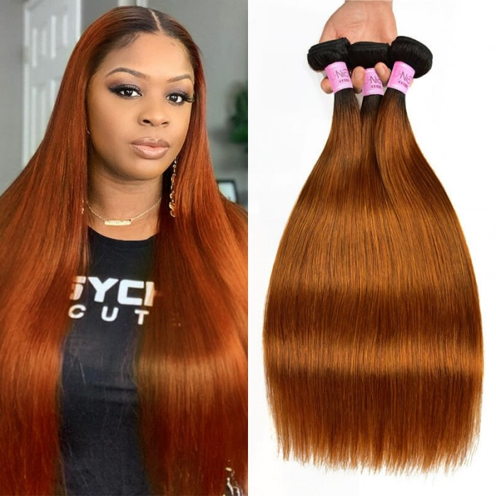 UNice Hair #TB30 Straight Human Hair New Pre Colored Remy Human Hair Weave 3 Bundles Ombre Hair Icenu Series