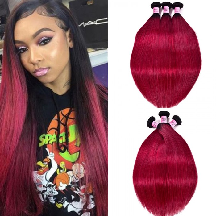 Unice Hair #TB Burgundy Color Ombre Silky Straight Virgin Human Hair Sew in Weave 3 Bundles Double Machine Weft Icenu Series