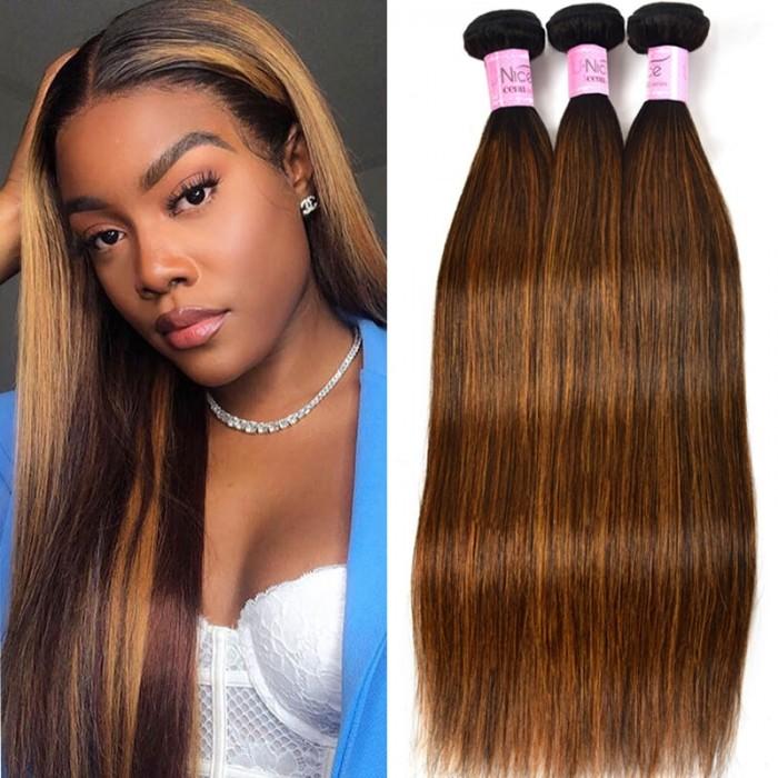 UNice Hair Virgin 3 Bundles Deals Colored Hair Weave #FB30 Straight Hair Icenu Series