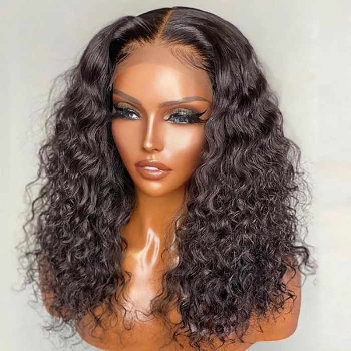 UNice Hair Water Wave Short Bobo 4x4 Lace Closure Wig With Undetectable Realistic Hairline