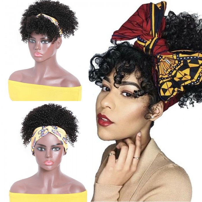 UNice Headband Wig Kinky Curly Head-Wrap Wig 2 In 1 High Puff Turban Ponytail Natural Color Glueless Wig Bettyou Series