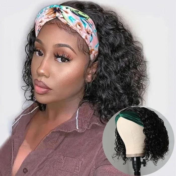 Cut To Free Unice Headband Wig Short Bob Wig Water Wave Human Hair Wigs Natural Black Wigs 10inch Bettyou Series
