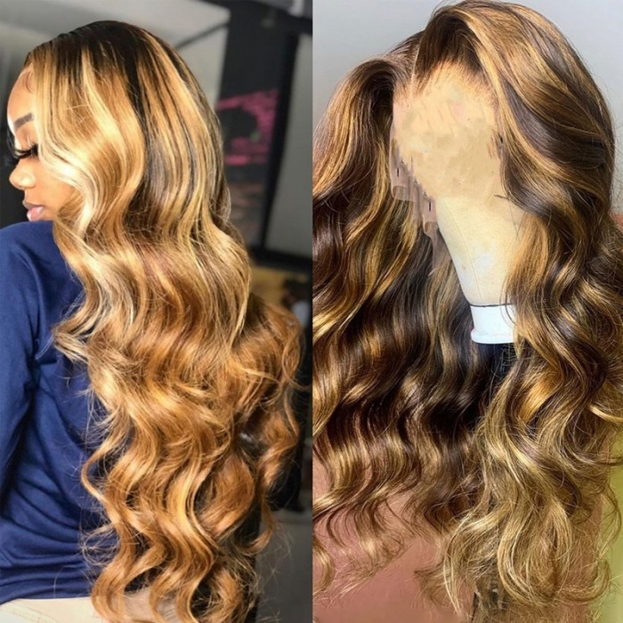 UNice Highlight Voluminous Wand Curl Honey Blonde 13x4 Body Wave Lace Front Wigs