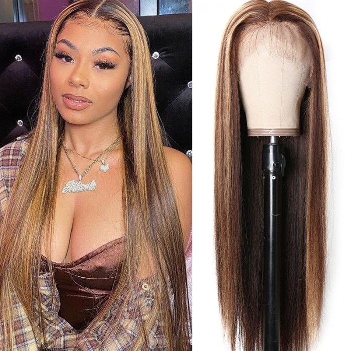 UNice Highlight Wig Honey blonde Piano Color Three Part Lace Part Wig Straight Human Hair Wigs 150% Density TL412 Bettyou Series