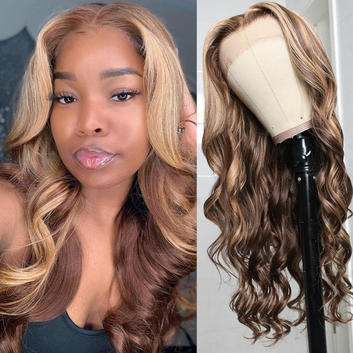 Honey Blonde Highlight Body Wave 13 by 4 Lace Front Wig 150% Density Preplucked With Baby Hair