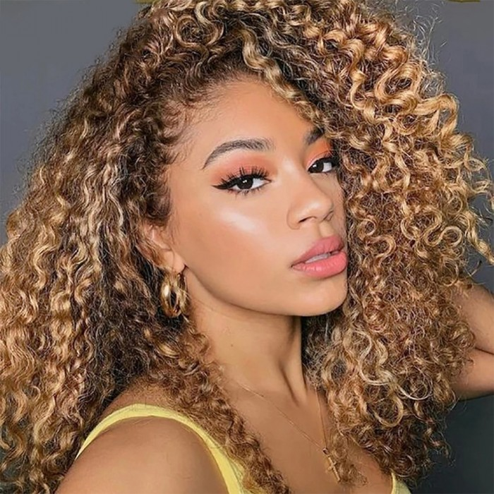 UNice Honey Blonde Layered Lob Water Wave Lace Front Wig with Dark Brown Color
