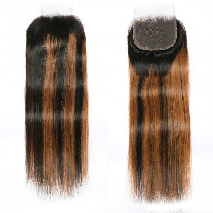 UNice Brown Highlights Human Hair 4x4 Free Part Silky Straight Top Lace Closure Piano Color