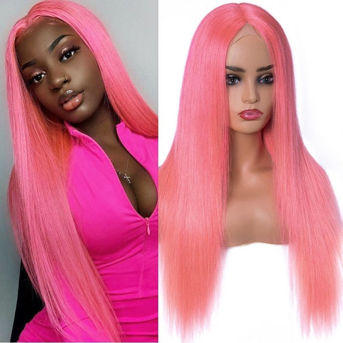UNice Light Pink Virgin Straight Hair Lace Part Wigs for Women