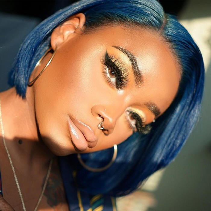 UNice Midnight Blue Human Hair Short Lace Front Bob Wigs