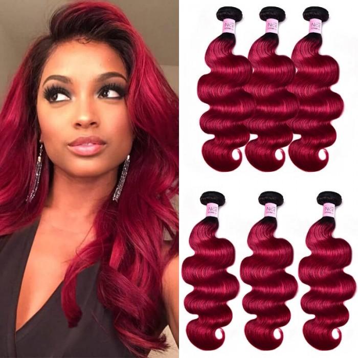 UNice New Arrival #TB Burgundy Body Wave Human Hair Weave 3 Bundles Deals Icenu Series