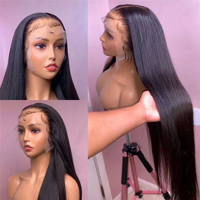 UNice 13x4 Straight 100% Human Hair Lace Front Wigs for African American Women 180% Density Glueless Lace Frontal Wig Pre Plucked with Baby Hair Bettyou Series