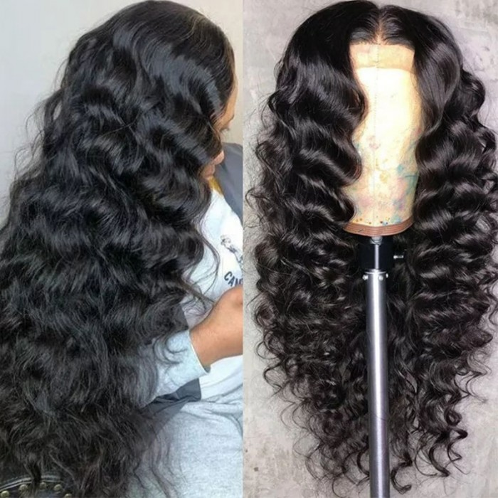 UNice New Style Body Wave 13x4 Lace Front Wigs Human Hair Natural Black