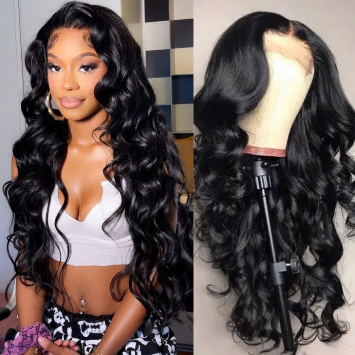 UNice New Style Bouncy Body Wave 13x4 Lace Front Wigs Human Hair Natural Black