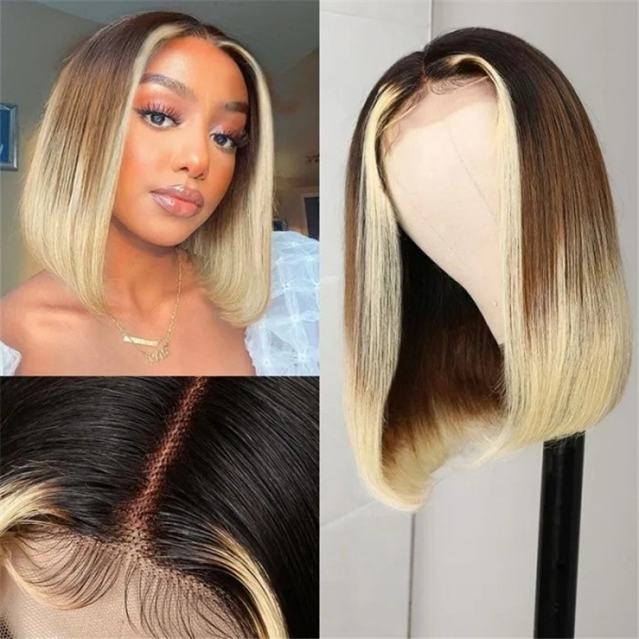 UNice Ombre Brown And Blonde Bob Wig With Face-Framing Blonde Streaks