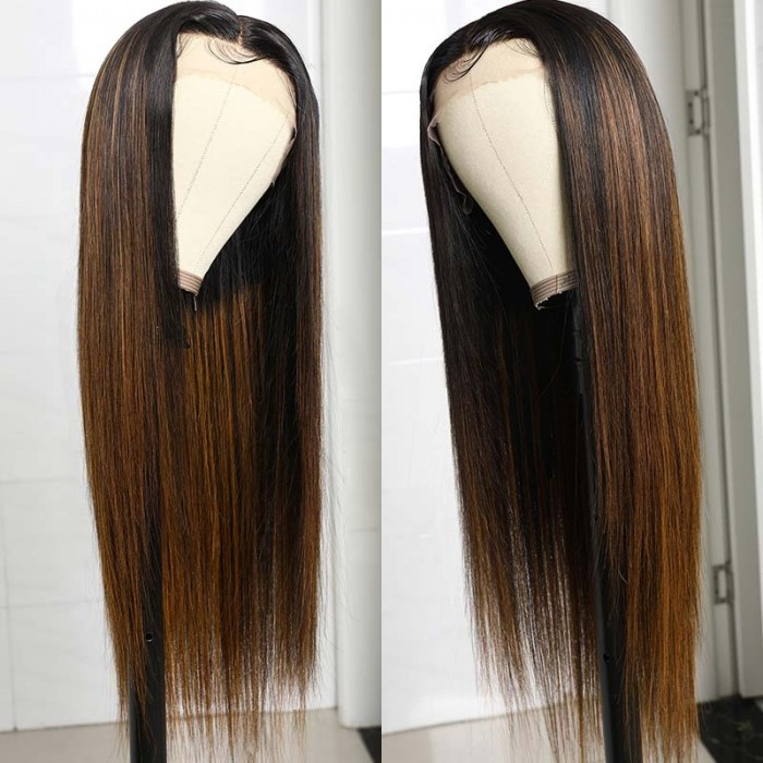 UNice Ombre Color #FB30 Balayage Blonde Straight Human Hair Lace Front T Part Wigs for Women Bettyou Series