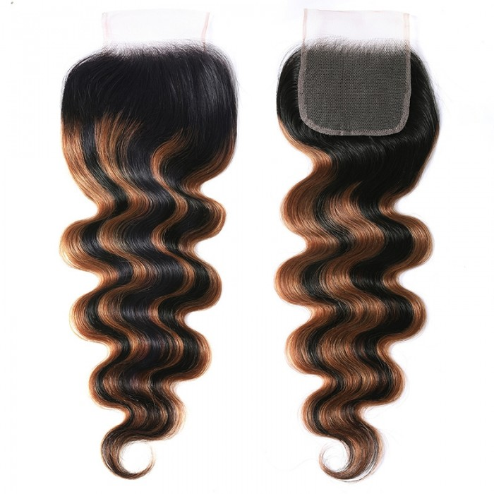 UNice Balayage Ombre Highlight Body Wave 4x4 Free Part Lace Closure 1 Piece