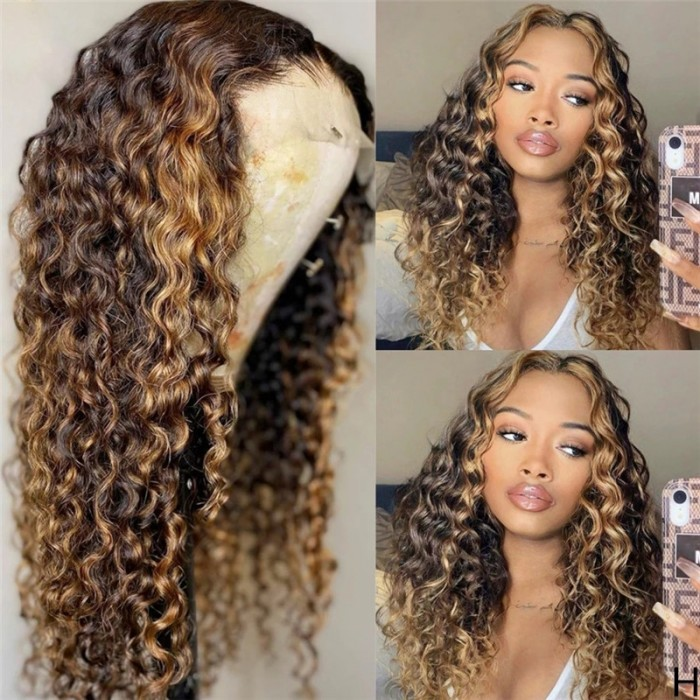 Honey Blonde Highlight Jerry Curly 13 by 4 Lace Front Wig 150% Density Preplucked With Baby Hair