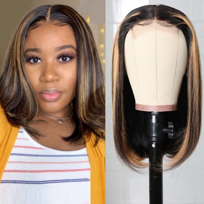 Shoulder Length TP1B/30 Mix Color Lob Wig Middle Part Lace 150% Density