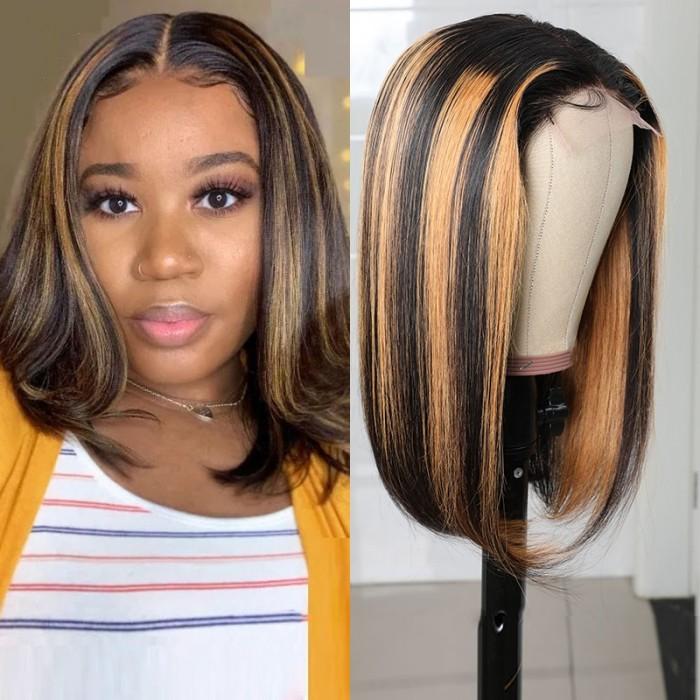 UNice Bob Haircut Ombre Highlight Lace Part Shoulder Length Hair Straight Bob Wig