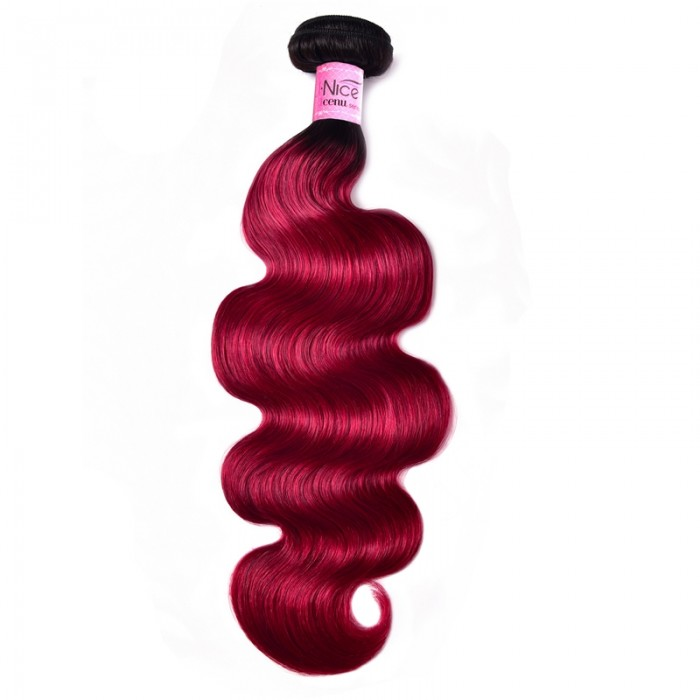 UNice Pre-Colored Human Hair Weave #TB Burgundy Color Body Wave Hair Bundles 1 Bundle Deals Icenu Series