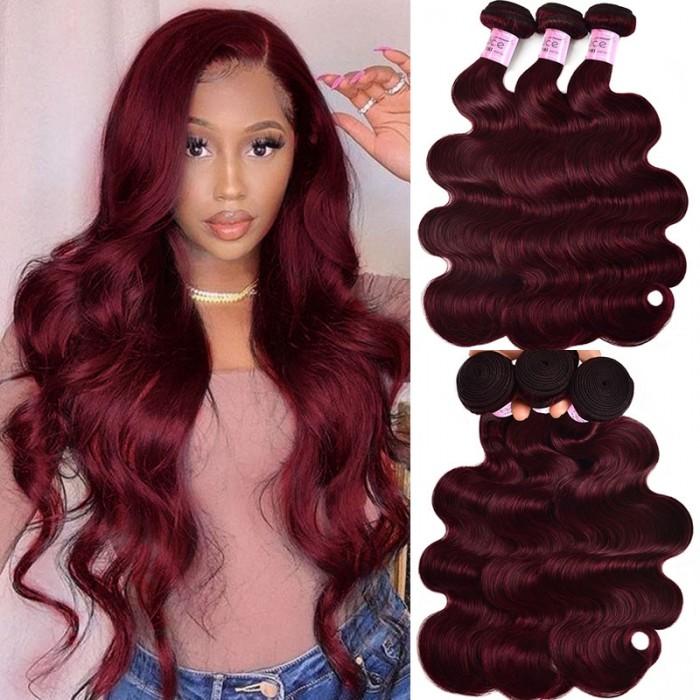 UNice Pure Color Virgin Hair Body Wave 3 Bundles Burgundy Hair Weave Bundles #99j Colored Hair  Icenu Series