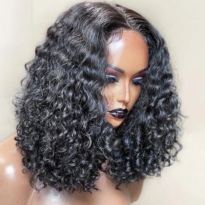 UNice Short Curly Bob Full Lace Human Hair Wig Natural Black color