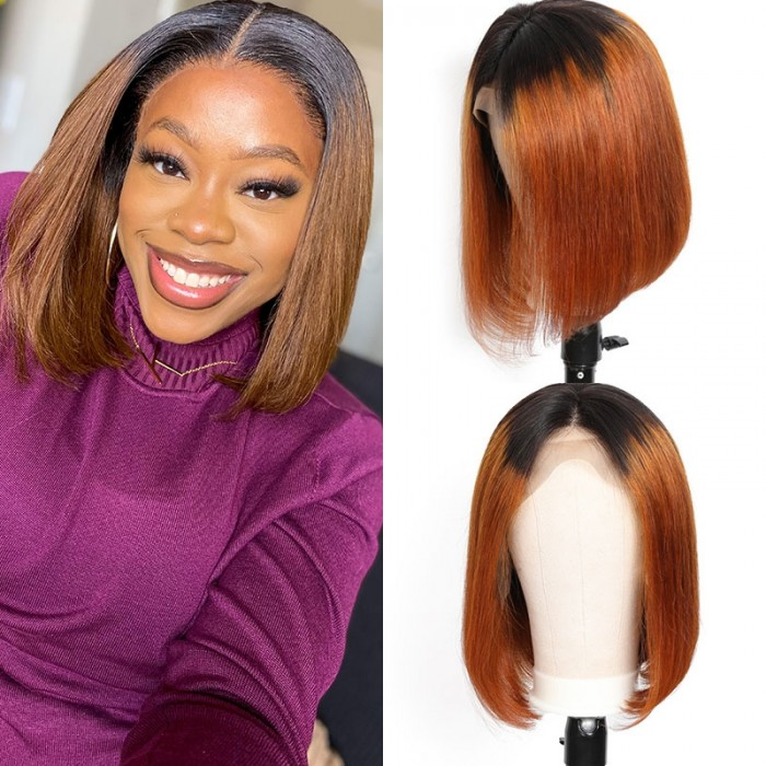 Unice Short Straight Bob Wigs Virgin Human Hair Lace Front Wigs 13x4 T1B4 Ombre Color Wig 150% Density Pre Plucked with Baby Hair Bettyou Series