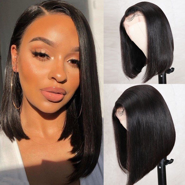 UNice Side Part Bob 13x4 Lace Front Wig Silky Straight Human Hair